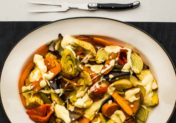 Roasted Seasonal Vegetables with a Yogurt and Sesame Dressing
