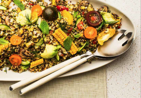 Quinoa Salad with Steamed Vegetables, Herbs and Chimichurri