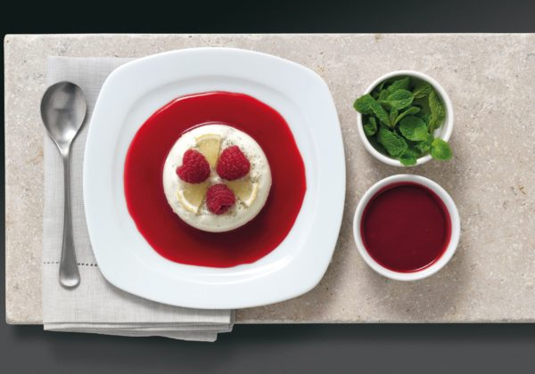 Lime Mousse with Raspberry Coulis